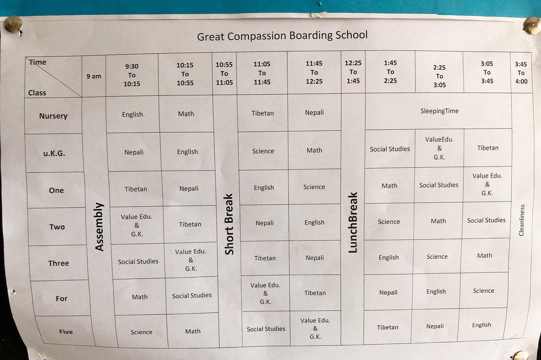 Stundenplan Great Compassion Boarding School