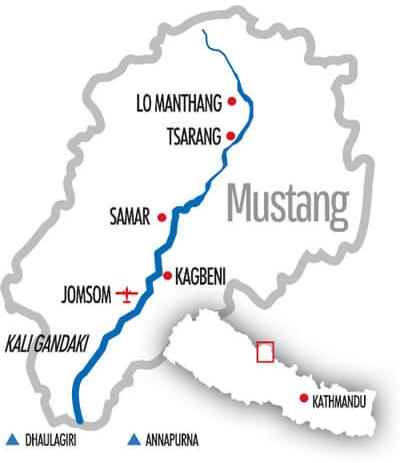 Karte ehem. Königreich Mustang